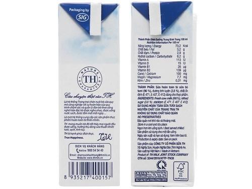 Thành phần sữa chua TH True Milk