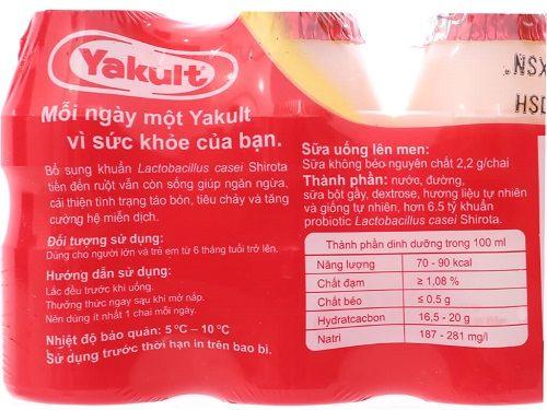 Thành phần sữa chua uống Yakult