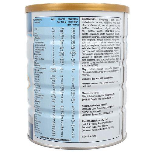 Thành phần sữa Ensure Úc nắp vàng